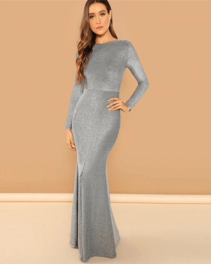 2e177ba50a Callisa Sukienka Szara Stalowa Maxi z Odsłoniętymi Plecami