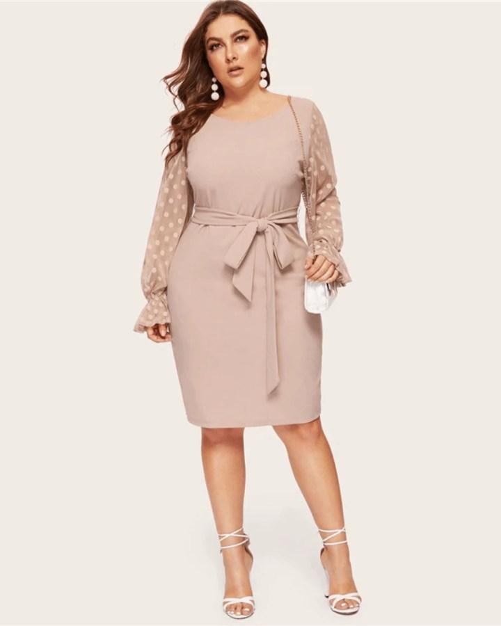 Sukienka Beżowa z Długim Rękawem Midi Plus Size