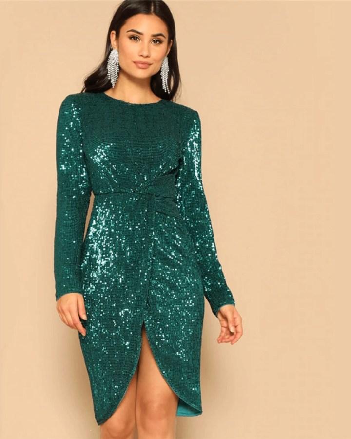 Secret Wish Boutique Sukienka w Cekiny Zielona na Sylwestra