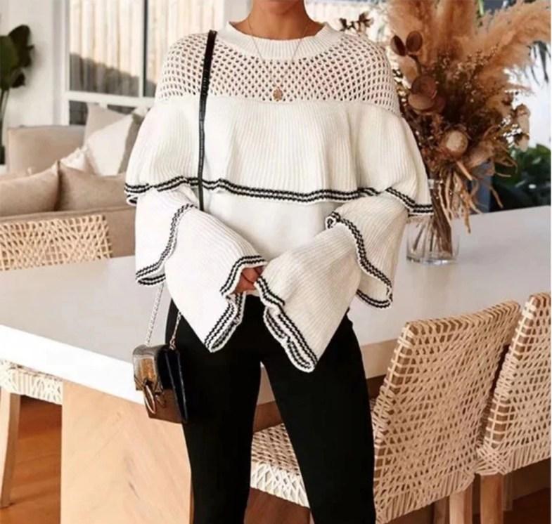 Jaki Wybrać Sweter na Jesień! Biały Sweter Damski z Falbankami