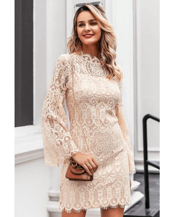 Sukienka Koronkowa Beżowa Ecru z Długim Rękawem Mini