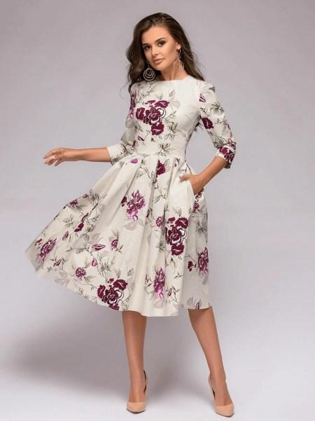 Sukienka Rozkloszowana Ecru w Kolorowe Kwiaty Midi