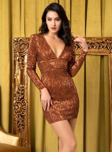 Sukienka Brązowa Złota w Cekiny z Odsłoniętymi Plecami Mini