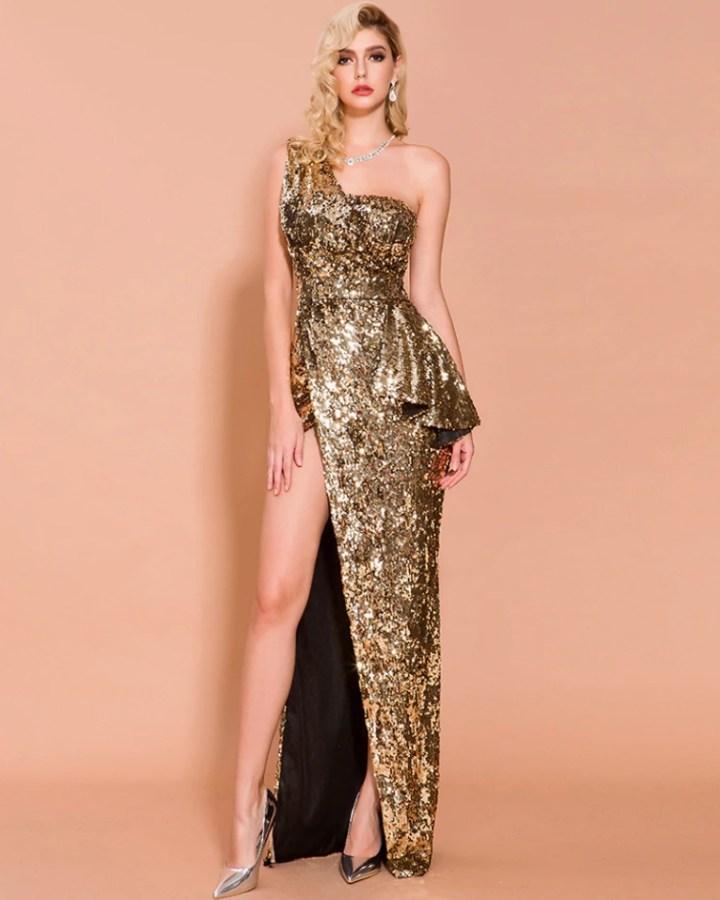 Sukienka Złota w Cekiny Długa Max