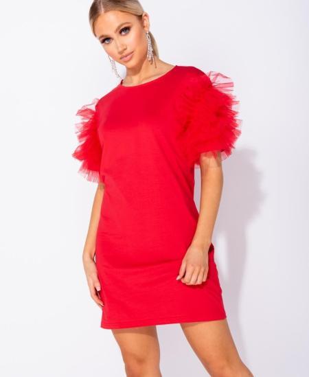 Sukienka Czerwona z Tiulowymi Rękawami Mini