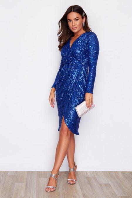 Sukienka Niebieska w Cekiny z Długim Rękawem Mini