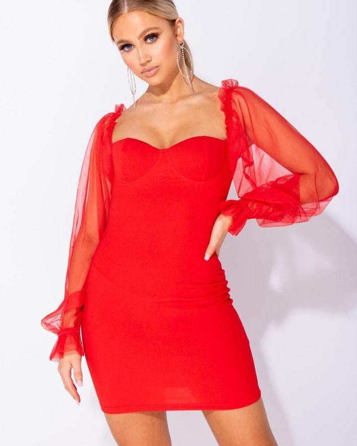 Sukienka Czerwona z Bufkami z Długim Rękawem Mini