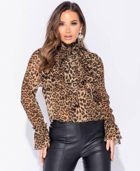 Bluzeczka Leopard z Żabotem z Długim Rękawem
