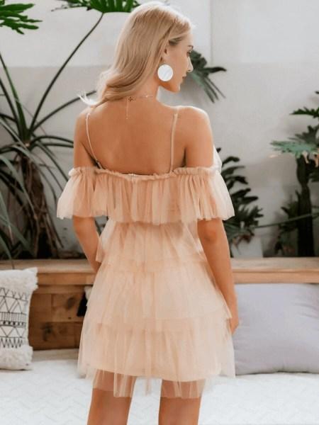 Sukienka Beżowa Ecru na Ramiączkach z Falbankami