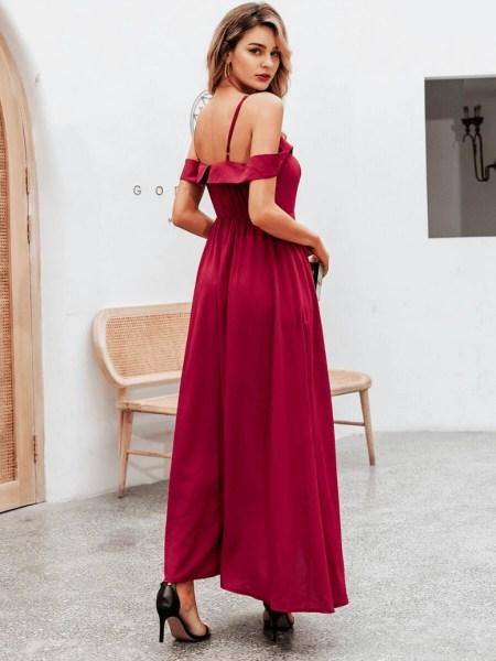 Sukienka Bordowa z Opadającymi Rękawkami Maxi