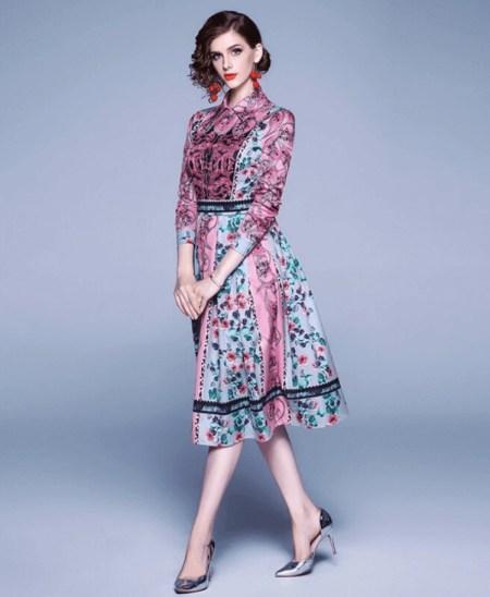 Sukienka Fioletowa Liliowa w Kwiaty z Długim Rękawem Midi