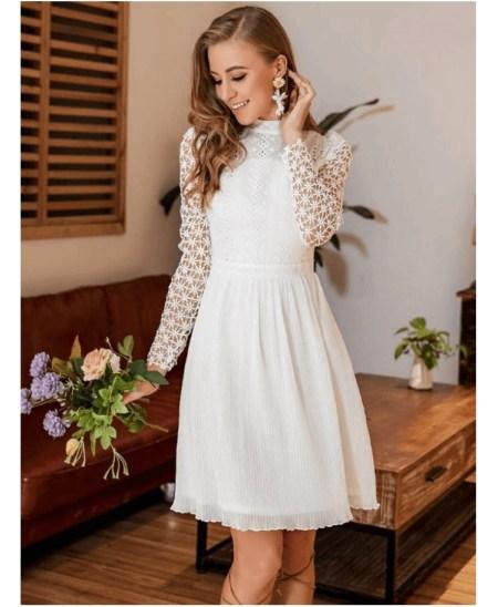 Fellastest Sukienka Koronkowa Biała