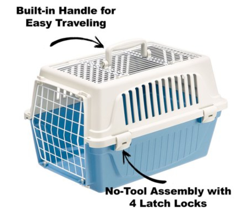New Puppy Checklist: An atlas two door plastic kennel and pet carrier