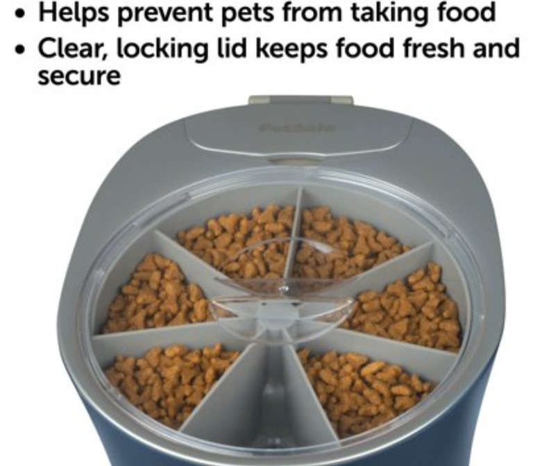Automatic 6 meal pet feeder for cats