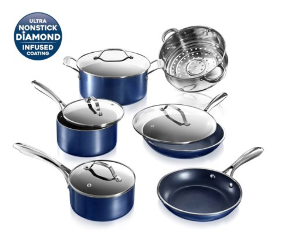 Granitestone Pots and Pans Set Blue 10 Piece Cookware Set with Ultra Nonstick Durable Mineral & Diamond Triple Coated Surface