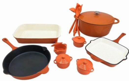 Le Chef 18-Piece Enameled Cast Iron Cookware Set