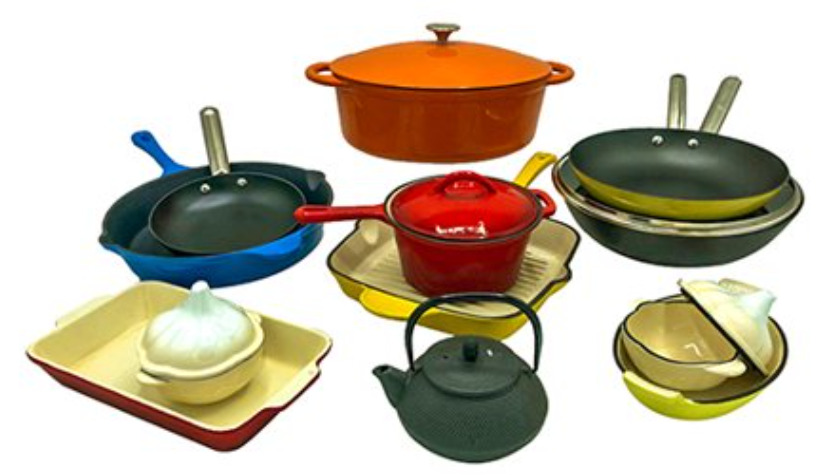 Le Chef 18-Piece All Enameled Cast Iron Set. (Multi-Colored, OR3.)