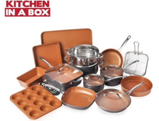 Gotham Steel 20 Piece All in One Kitchen set+ Bakeware Set with Nonstick Durable Ceramic Copper Coating – Includes Skillets, Stock Pots, Deep Square Fry Basket, Cookie Sheet and Baking Pans
