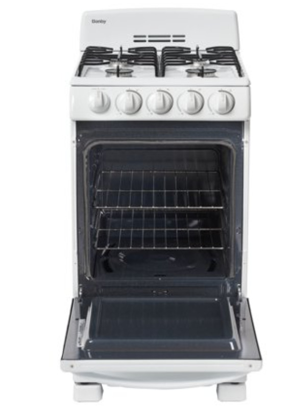 """Danby 20"""" Gas Range with 2.3 Cu Ft Ovens in White, DR202WGLP"""