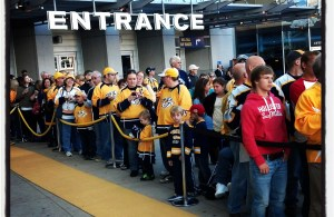 Predators fans pack the Nissan Entrance in anticipation of the players arrival.