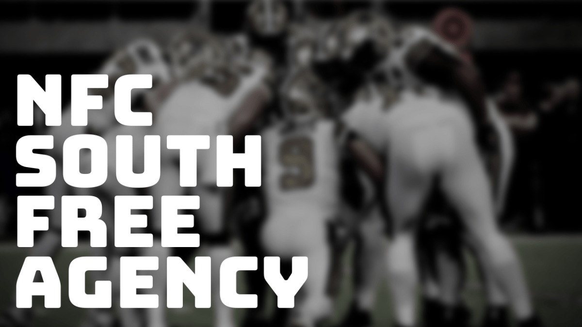 New Orleans Saints in a huddle with dark filter and large text