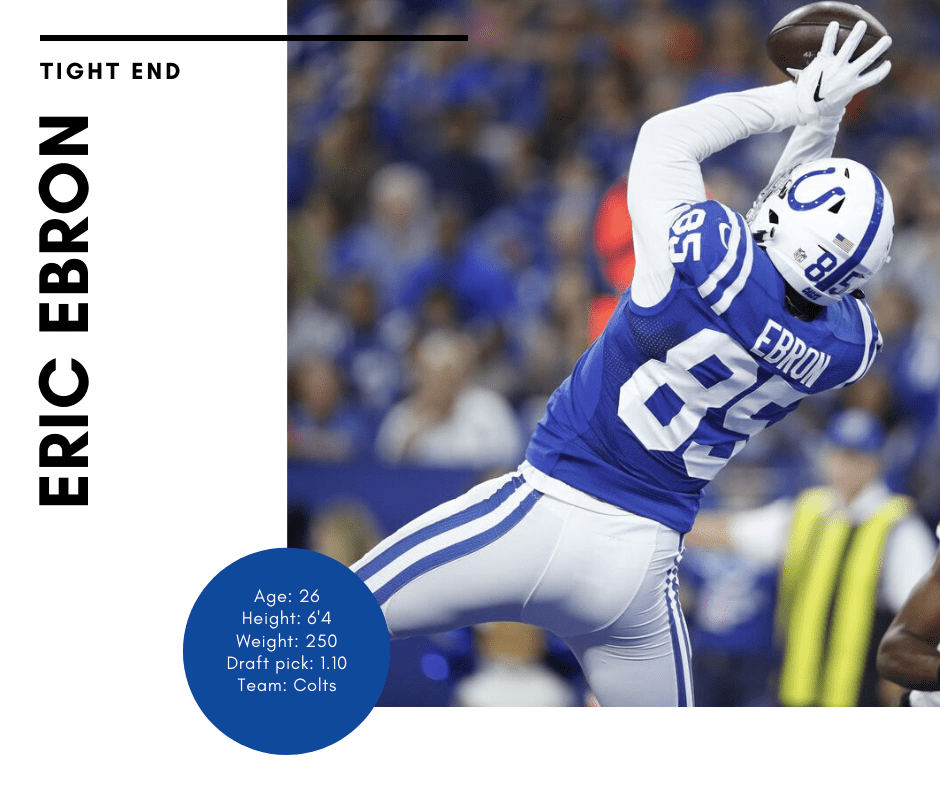 Eric Ebron tight end for the colts catching football