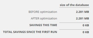 Optimize Database after Deleting Revisions 結果