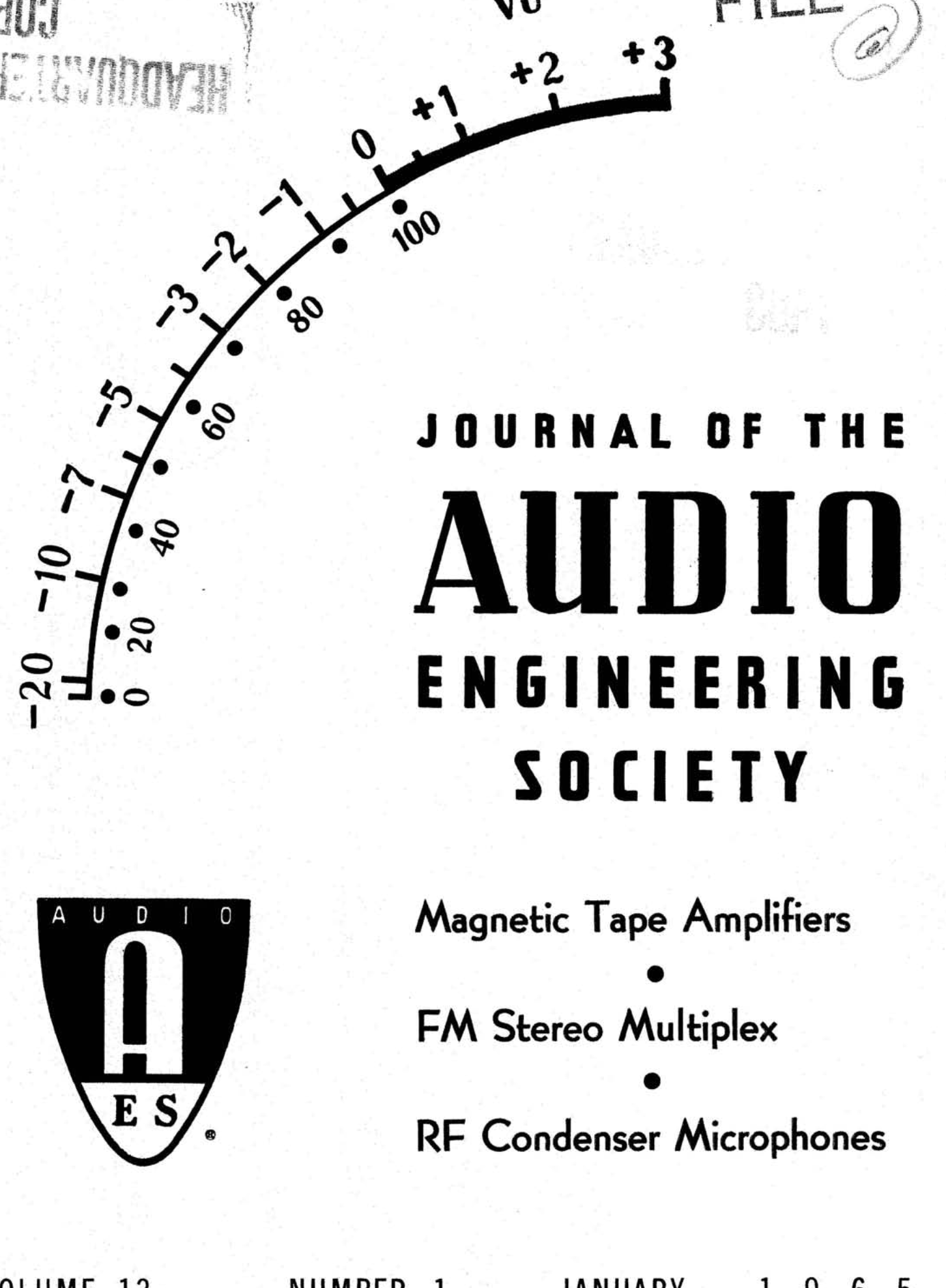 Aes E Library Complete Journal Volume 13 Issue 1