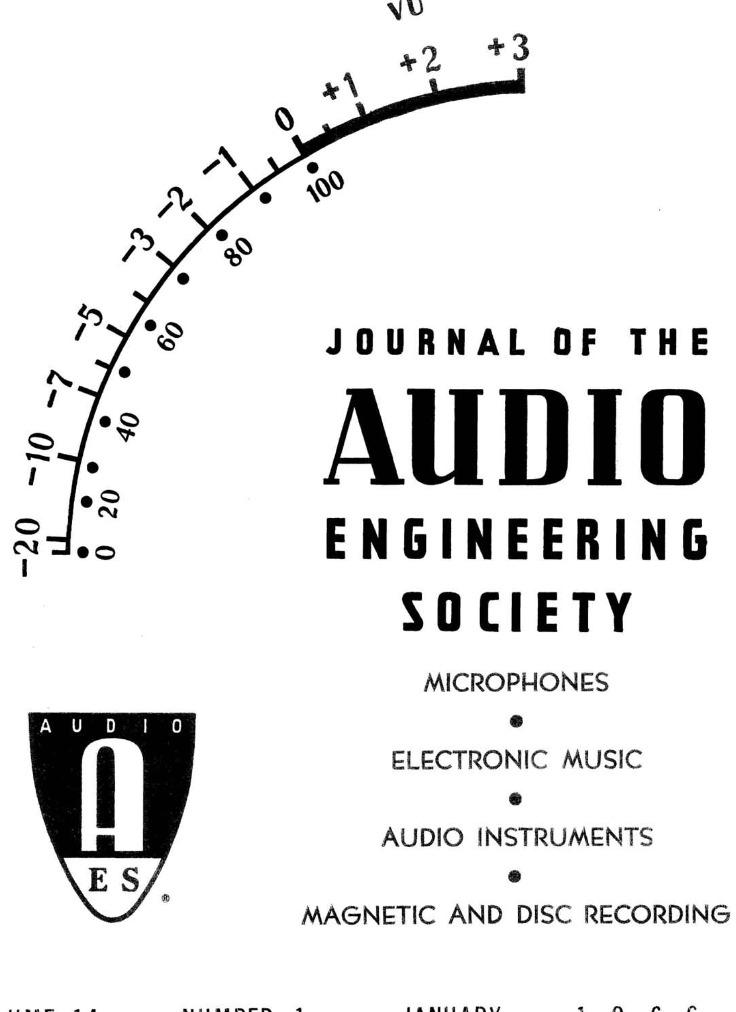 Aes E Library Complete Journal Volume 14 Issue 1