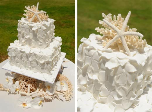 Wedding Cake Wednesday  Hawaiian Edition   Disney Weddings Crisp  clean and white this cake is sure to create a beautiful focal point  at any wedding reception  Aloha