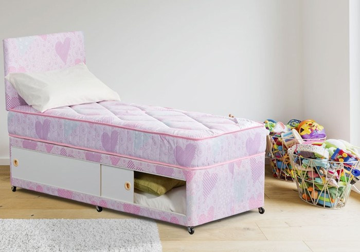 2ft6 Small Single Childrens Divan Bed Pink Hearts With Storage And Headboard
