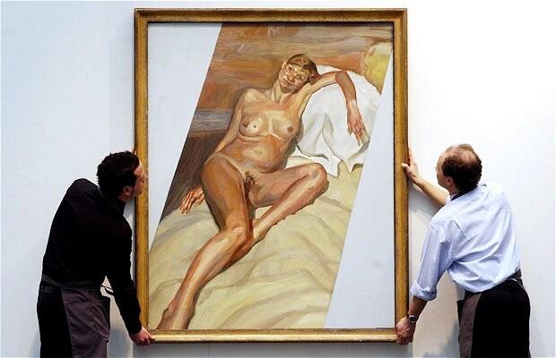 Retrato de Lucian Freud de Kate Moss, nua e grávida