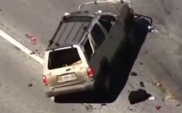 Video: Dramatic police chase in US ends in a car flip ...