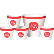 Trimmed 5 Piece Popcorn Bucket Set