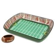2 Piece Football Gameday Stadium Ceramic Chip and Dip Platter Set