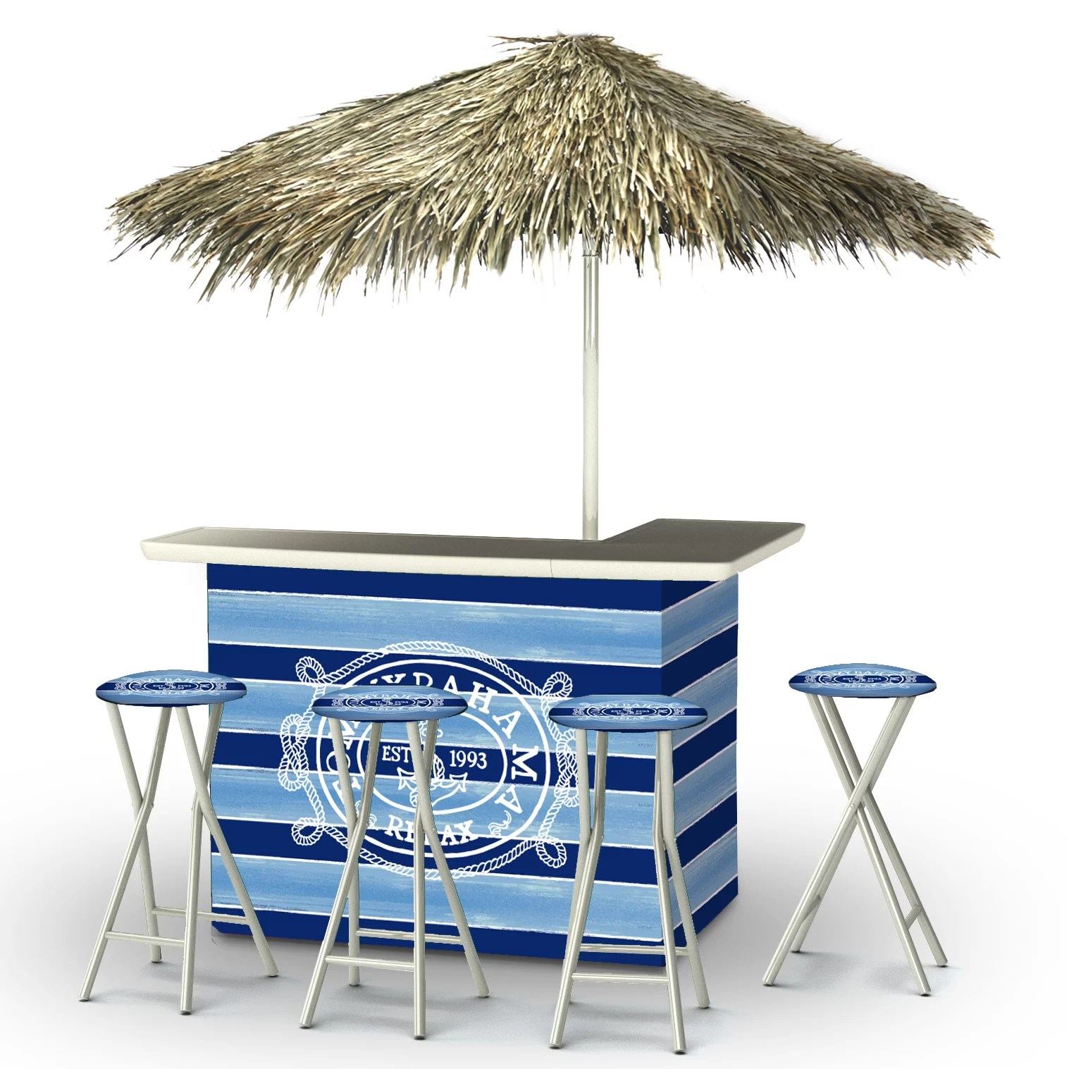 Best of Times Tommy Bahama Tiki Bar Set | Wayfair on Backyard Tiki Bar For Sale id=62531