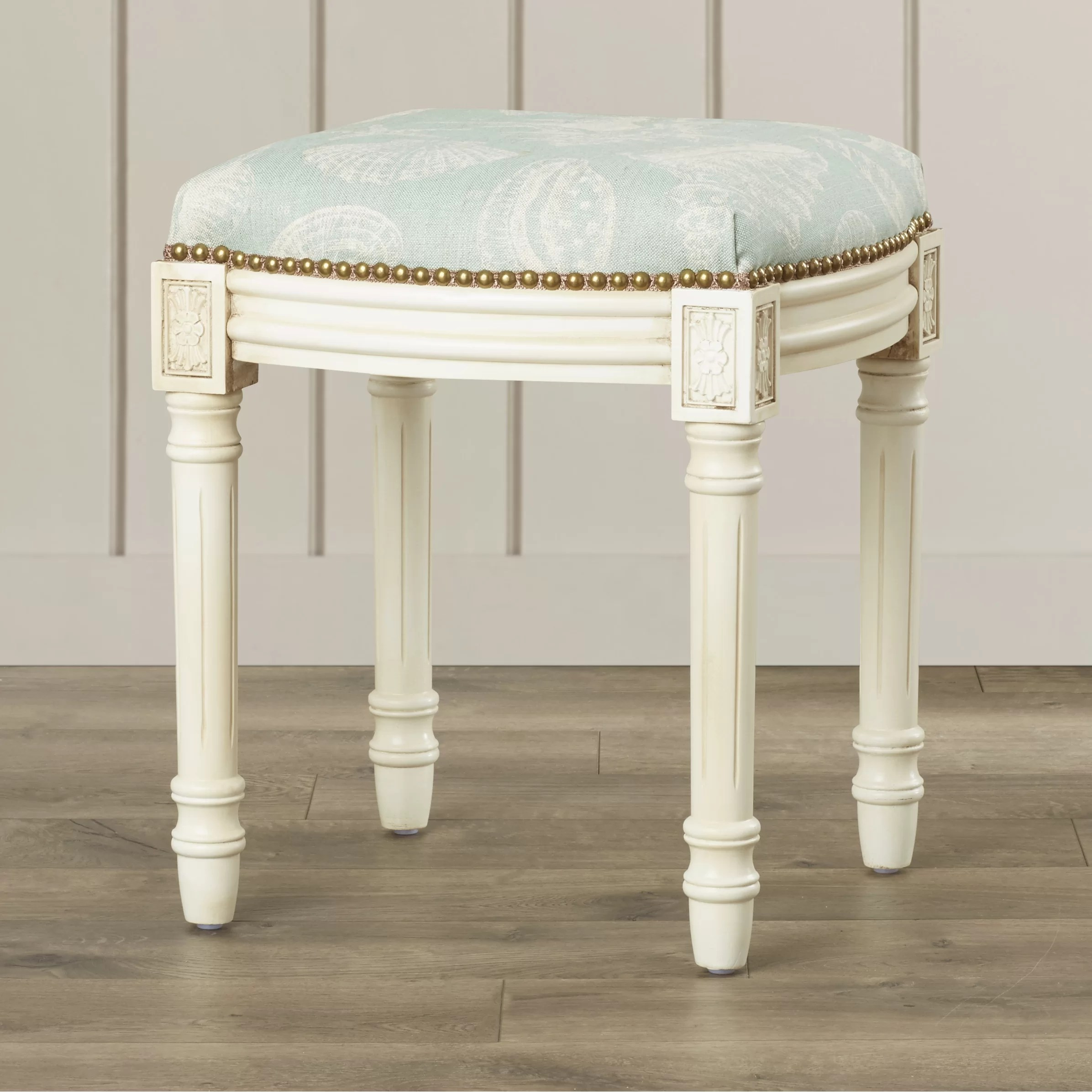 123 Creations Coastal Seashells Linen Upholstered Vanity