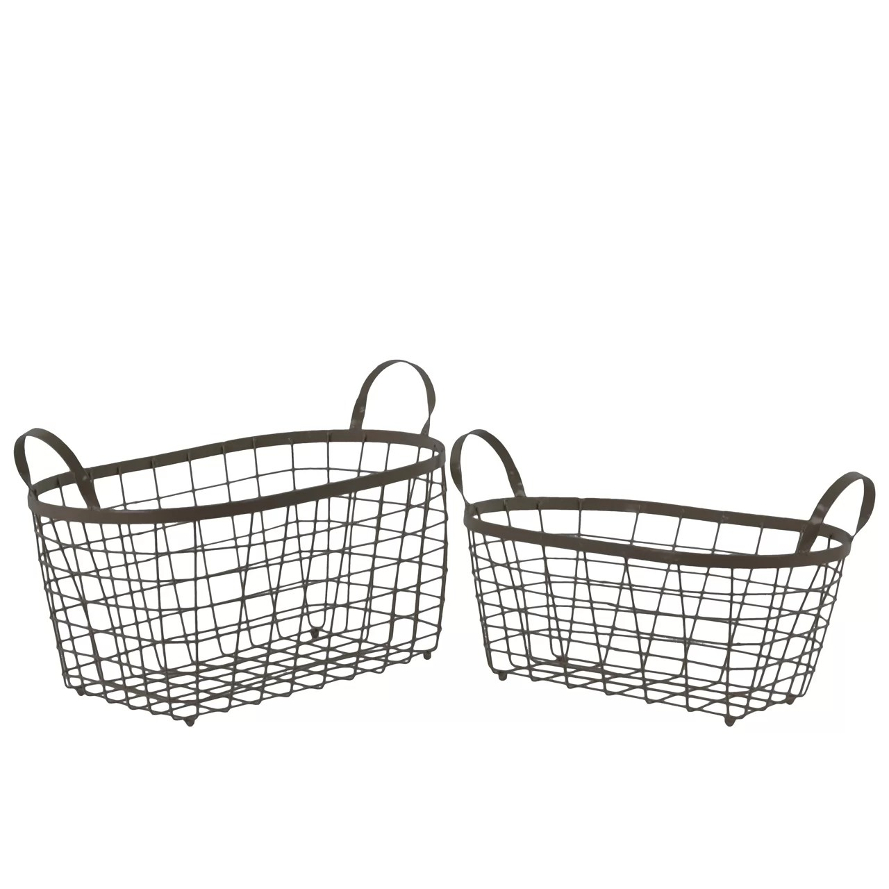 Urban Trends 2 Piece Metal Rectangle Wire Basket Set