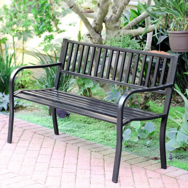 steel roundabout garden bench Jeco Inc. Traditional Steel Park Bench & Reviews | Wayfair
