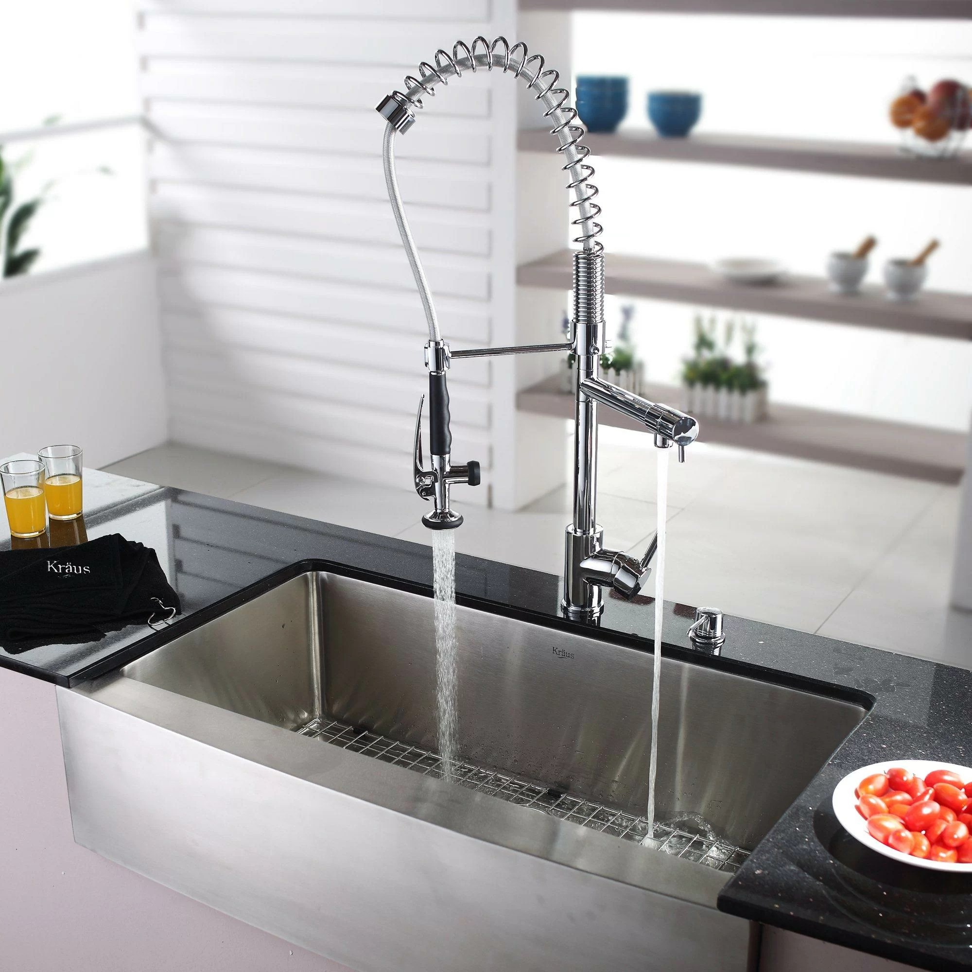kraus farmhouse 35 88 x 20 75 kitchen sink with faucet on kitchens with farmhouse sinks id=79427