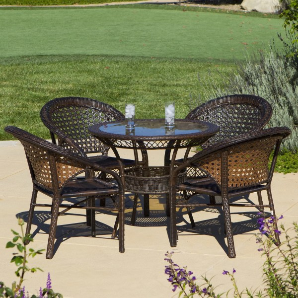 outdoor wicker furniture 5 piece patio set Home Loft Concepts Andre 5 Piece Wicker Outdoor Dining Set