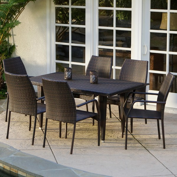outdoor patio 7 piece dining set Mercury Row Panos 7 Piece Outdoor Dining Set & Reviews