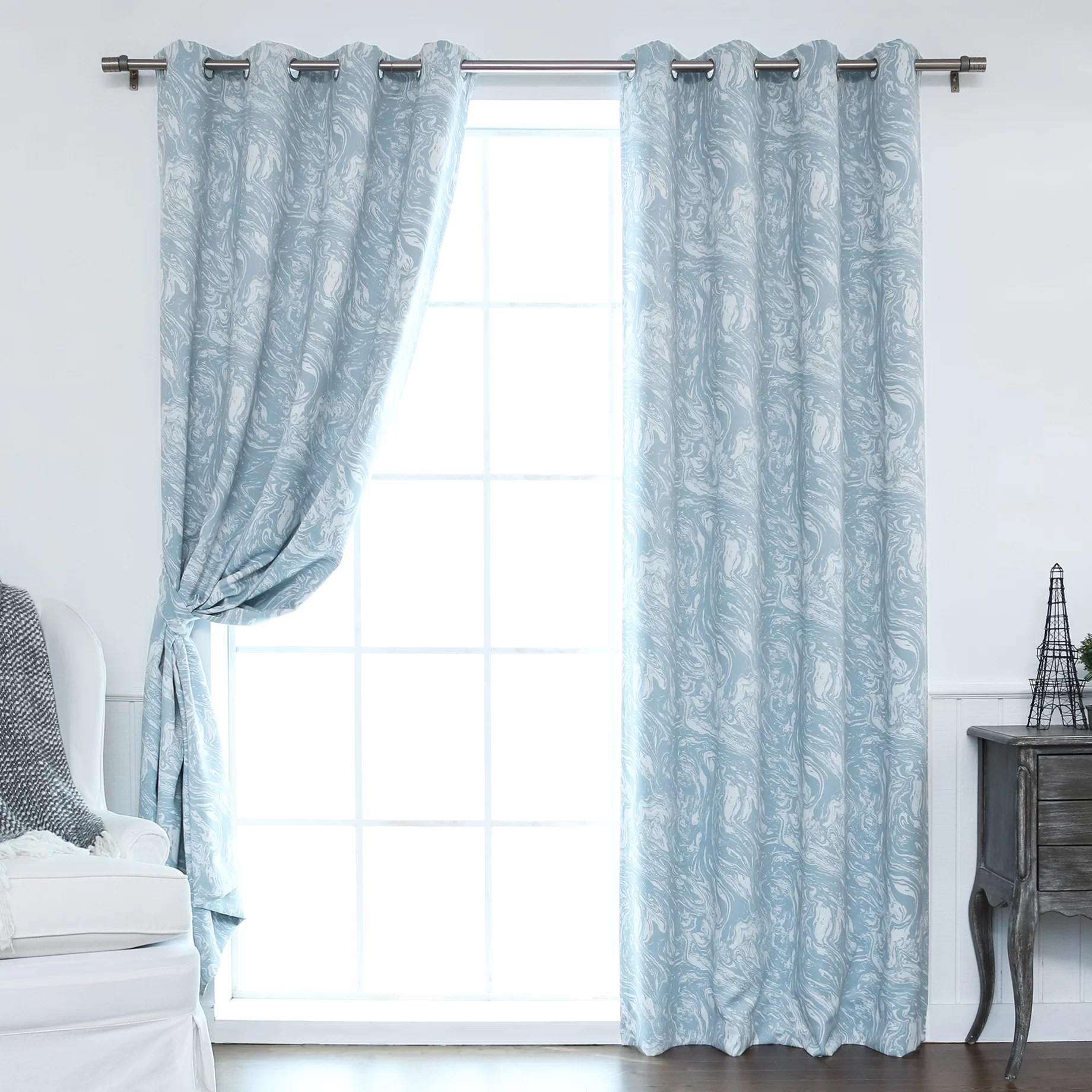 Best Home Fashion Inc Marble Print Room Darkening Blackout Thermal Curtain Panels Amp Reviews