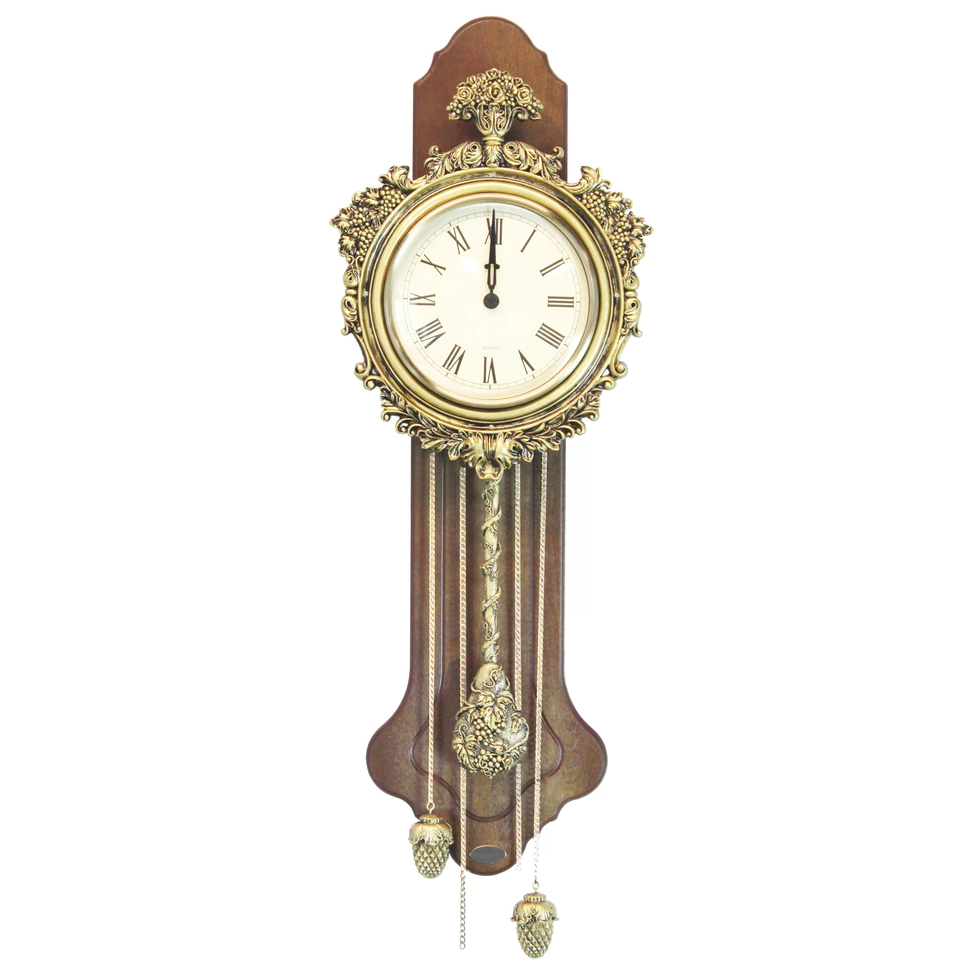 Uniquewise Elegant Wood Wall Clock With Acorn Pendulum