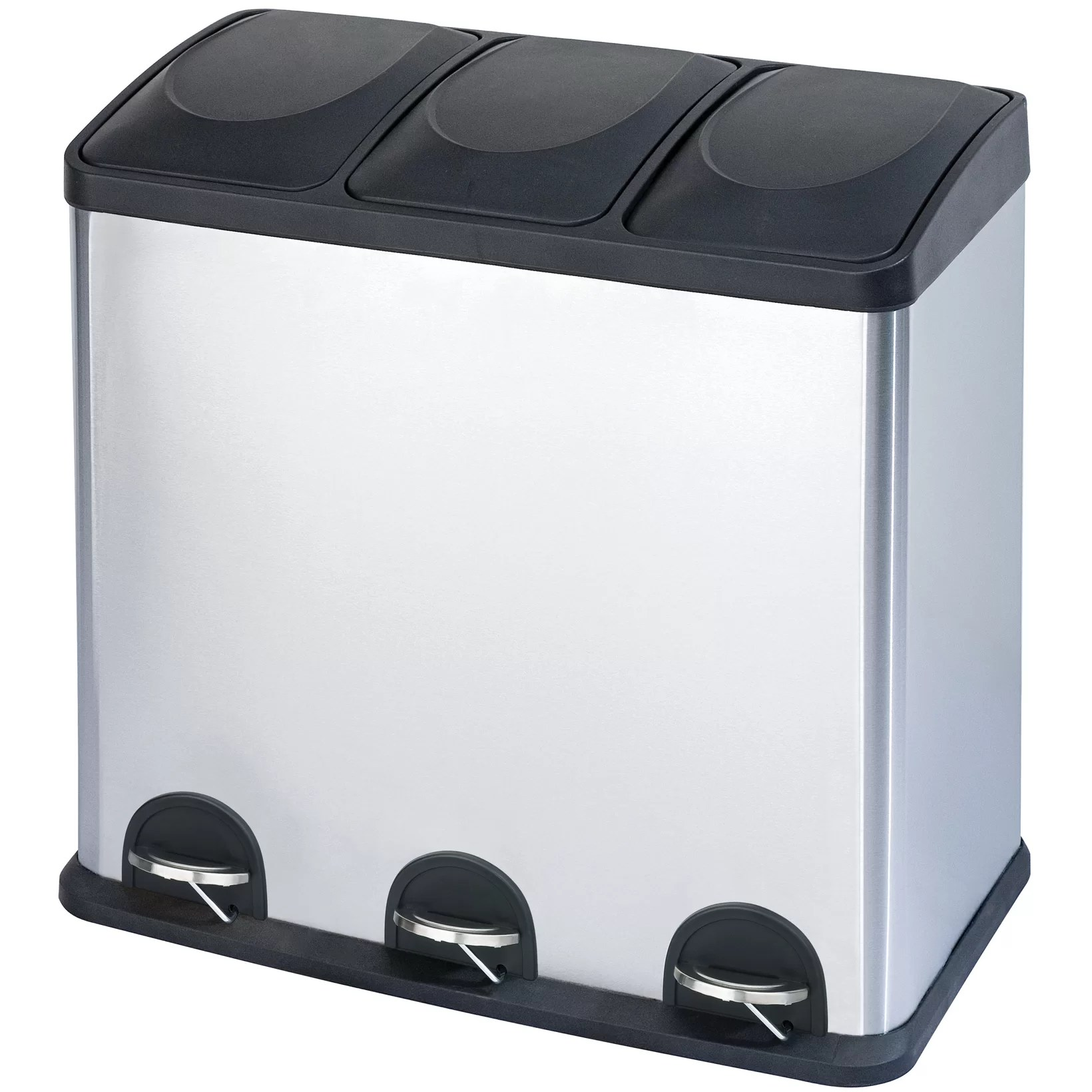 Step N Sort 16 Gal 3 Compartment Stainless Steel Trash