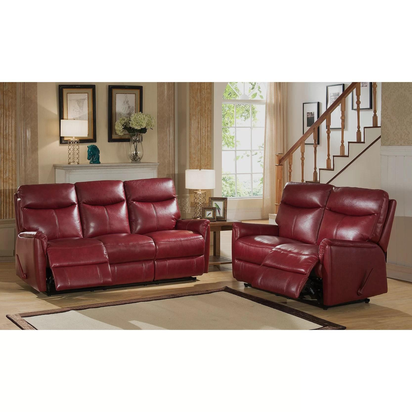Amax Napa Top Grain Leather Lay Flat Reclining Sofa And