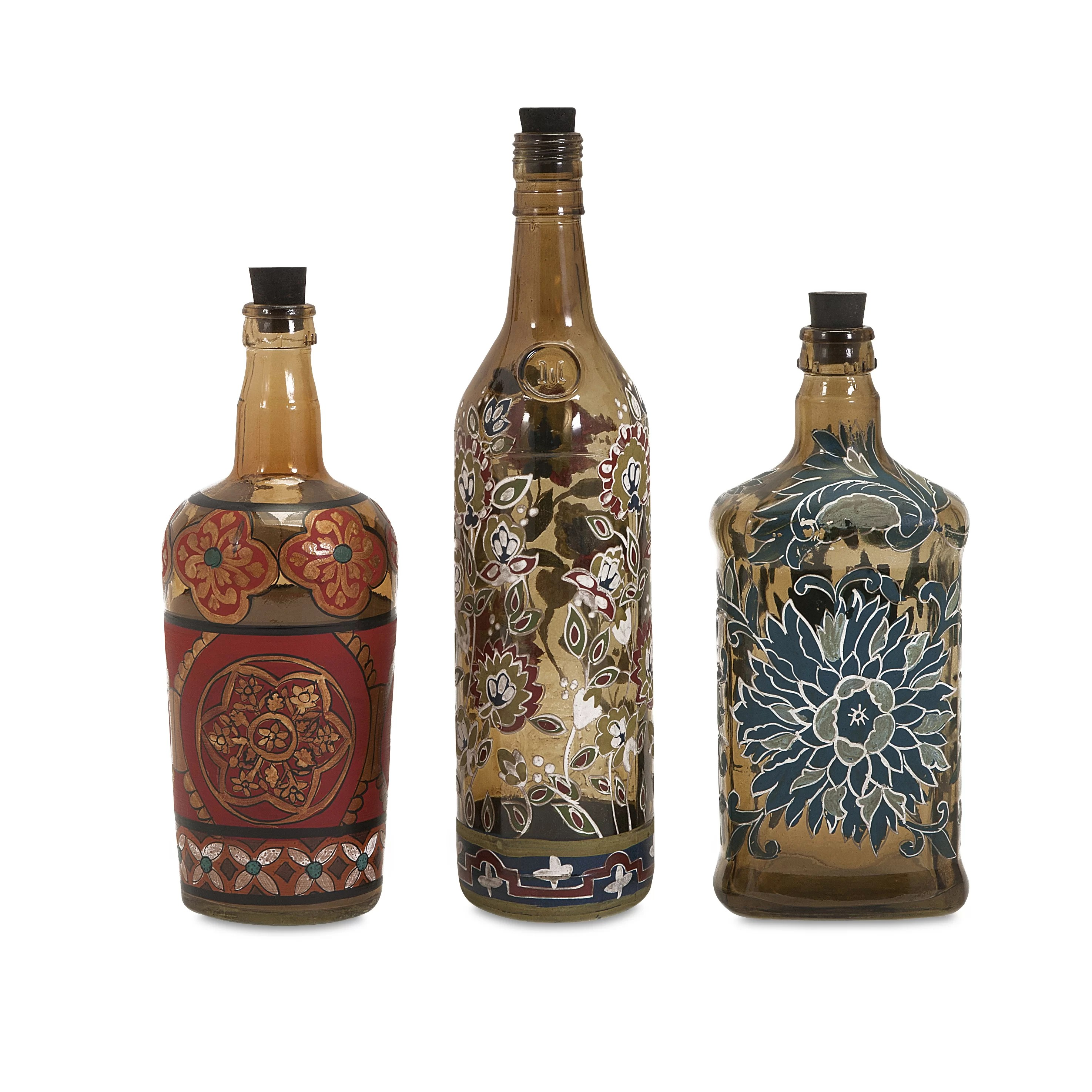 IMAX Reclaimed Hand Painted Decorative 3 Piece Bottle Set