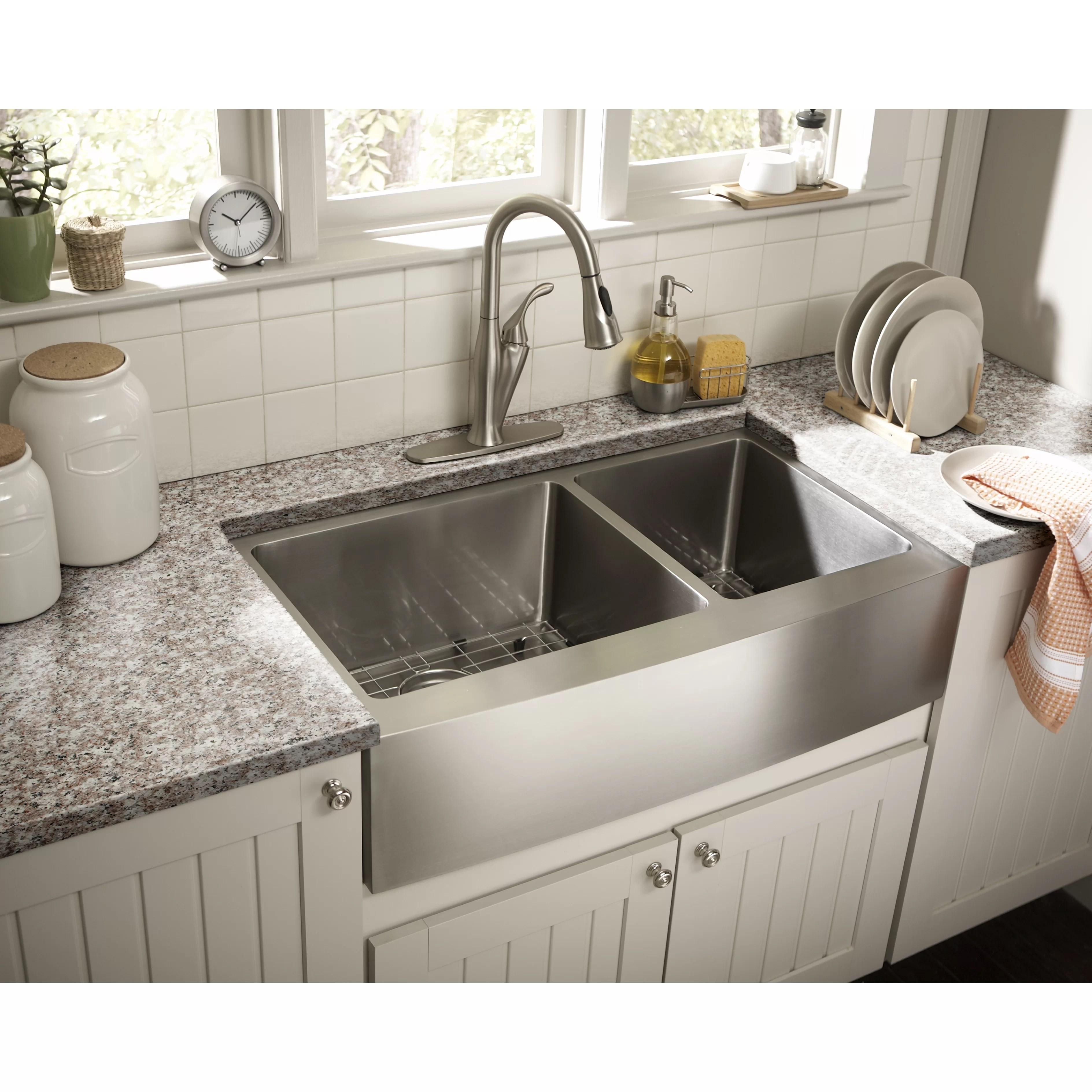 schon farmhouse 36 x 21 25 undermount double bowl on kitchens with farmhouse sinks id=90067