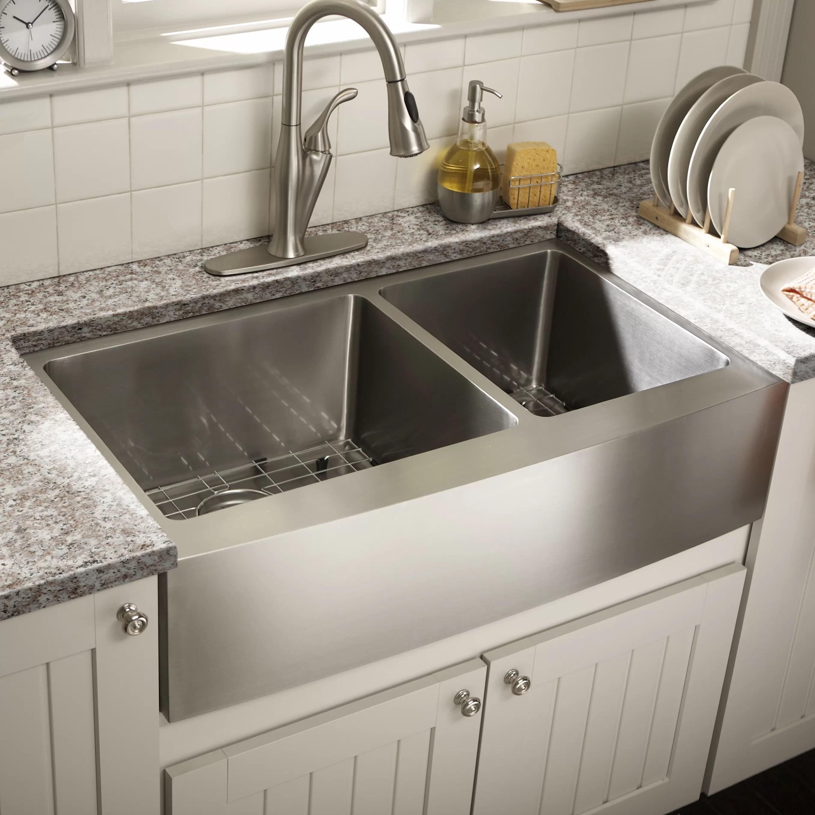 schon farmhouse 36 x 21 25 undermount double bowl on kitchens with farmhouse sinks id=19414