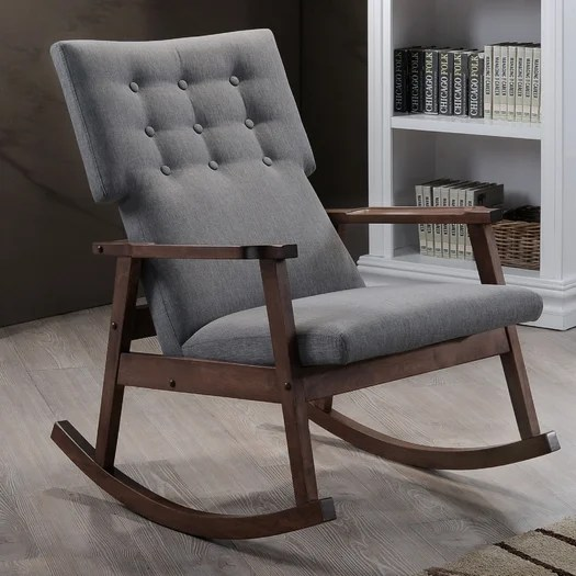 Dream Home Gray Upholstered Rocking Chair Minimalist Design Study